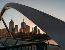 Cityscape van Melbourne door Evan Walker Pedestrian wordt ontworpen dat Stock Fotografie