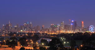 Cityscape van Melbourne nachtmening Australië Stock Foto's