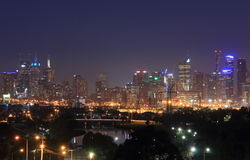 Cityscape van Melbourne nachtmening Australië Royalty-vrije Stock Foto's