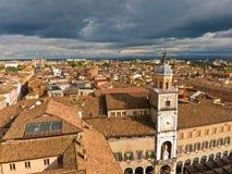 Cityscape van Modena, middeleeuwse die stad in Emi wordt gesitueerd stock afbeeldingen