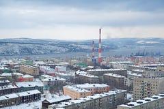 Cityscape van Moermansk Stock Foto