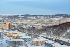 Cityscape van Moermansk Stock Afbeeldingen