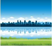 Cityscape van Montreal achtergrond Stock Afbeeldingen