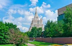 Cityscape van Moskou met Oude Wolkenkrabber Royalty-vrije Stock Fotografie