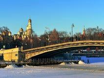 Cityscape van Moskou op de winter Stock Afbeeldingen
