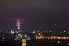 Cityscape van Nacht Praag Royalty-vrije Stock Afbeeldingen