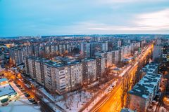 Cityscape van nachtvoronezh van dak 3d geef illustratie terug Stock Foto's