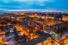 Cityscape van nachtvoronezh van dak 3d geef illustratie terug Royalty-vrije Stock Foto