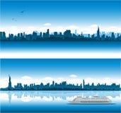 Cityscape van New York achtergrond Stock Foto's