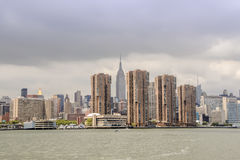 Cityscape van New York van Hudson River Stock Foto
