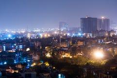 Cityscape van Noida bij nacht Royalty-vrije Stock Fotografie