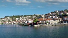 Cityscape van Ohridmacedonië stock videobeelden