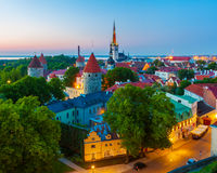 Cityscape van oude stad Tallinn, Estland Royalty-vrije Stock Afbeeldingen