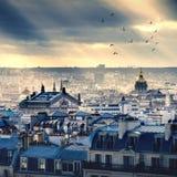 Cityscape van Parijs die uit Montmartre wordt genomen Stock Afbeeldingen