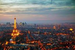 Cityscape van Parijs met de toren van Eiffel Stock Foto