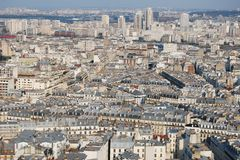 Cityscape van Parijs vanuit hoog gezichtspunt Royalty-vrije Stock Afbeelding