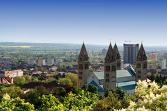 Cityscape van Pecs, Hongarije Stock Foto's