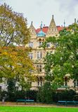 Cityscape van Praag, Czechia stock foto's