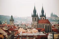 Cityscape van Praag, Tsjechische Republiek Beroemde stad Royalty-vrije Stock Afbeeldingen