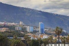 Cityscape van Puerto de la Cruz in Tenerife stock foto