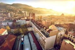 Cityscape van Sarajevo Stock Foto