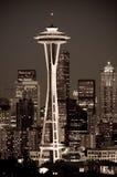 Cityscape van Seattle bij nacht Stock Foto