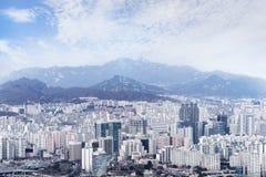 Cityscape van Seoel, horizon, de hoge gebouwen van het stijgingsbureau in Seoel ci Stock Afbeelding