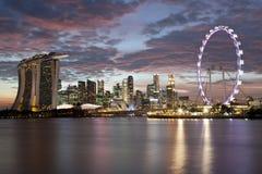 Cityscape van Singapore bij zonsondergang Royalty-vrije Stock Foto's