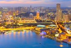 Cityscape van Singapore luchtmening royalty-vrije stock foto's