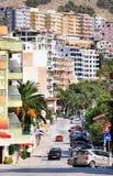 Cityscape van stad Saranda. Royalty-vrije Stock Fotografie