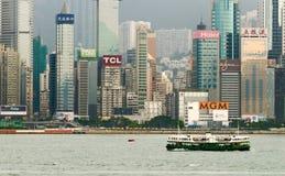 Cityscape van sterveerboot op de haven van Victoria stock foto's