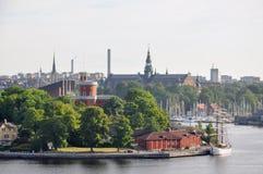 Cityscape van Stockholm Panoramamening van historisch deel van Stockholm in Zweden royalty-vrije stock foto