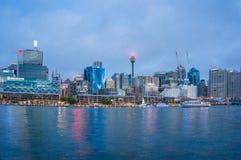 Cityscape van Sydney bij blauw uur Royalty-vrije Stock Fotografie