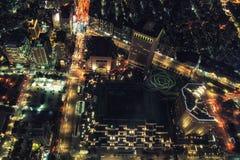 Cityscape van Taipeh van hierboven bij nacht Stock Afbeeldingen