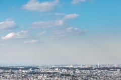 Cityscape van Tokyo in ochtend Stock Foto's