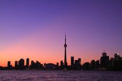 Cityscape van Toronto tijdens Zonsondergang Stock Afbeelding
