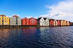 Cityscape van Trondheim, Noorwegen royalty-vrije stock afbeeldingen