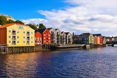 Cityscape van Trondheim, Noorwegen Stock Afbeelding