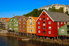 Cityscape van Trondheim Noorwegen Stock Fotografie