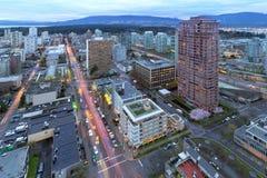Cityscape van Vancouver BC bij Schemer Royalty-vrije Stock Foto's