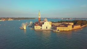Cityscape van Venetië Satellietbeeld Grand Canal San Marco Bell Tower Mark Square Italië stock video