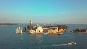 Cityscape van Venetië Satellietbeeld Grand Canal San Marco Bell Tower Mark Square Italië stock footage