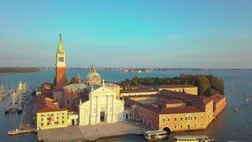 Cityscape van Venetië Satellietbeeld Grand Canal San Marco Bell Tower Mark Square Italië stock videobeelden