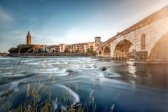 Cityscape van Verona mening stock afbeelding