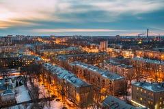 Cityscape van Voronezh van de nachtavond van dak Grote Woonwijk Royalty-vrije Stock Fotografie