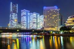 Cityscape van Yokohama bij nacht Stock Foto