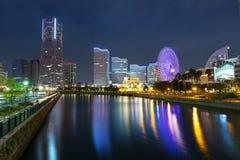 Cityscape van Yokohama-stad bij nacht Stock Afbeelding