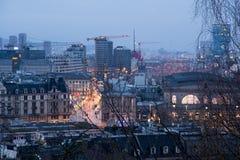 Cityscape van Zürich bij dageraad royalty-vrije stock afbeeldingen