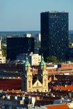 Cityscape van Zagreb, Kroatië stock afbeeldingen