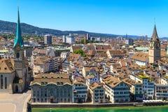 Cityscape van Zürich (luchtmening) Stock Afbeeldingen